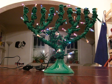 "A clearly confused Christmas menorah or a ""Chrismanukkah"" menorah."