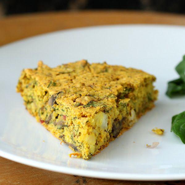 Soy-free Frittata with Mushroom Chard Shallot Almond-Feta. Vegan ...