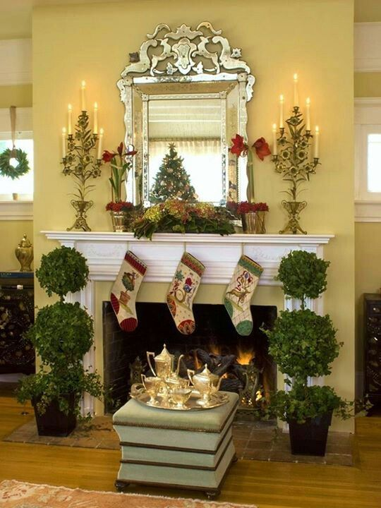 Holiday fireplace topiaries  Topiaries  Pinterest