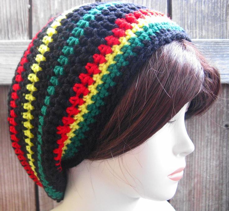 Jamaican /Black Hippie Rasta Tam Slouchy Hat crochet