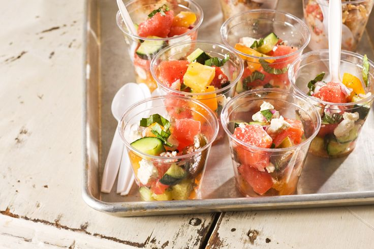 Watermelon, Tomato and Cucumber Salad with Fresh Basil and Feta