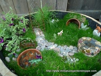Container fairy garden fae rees burdsa tree howzis for How to make a fairy garden container