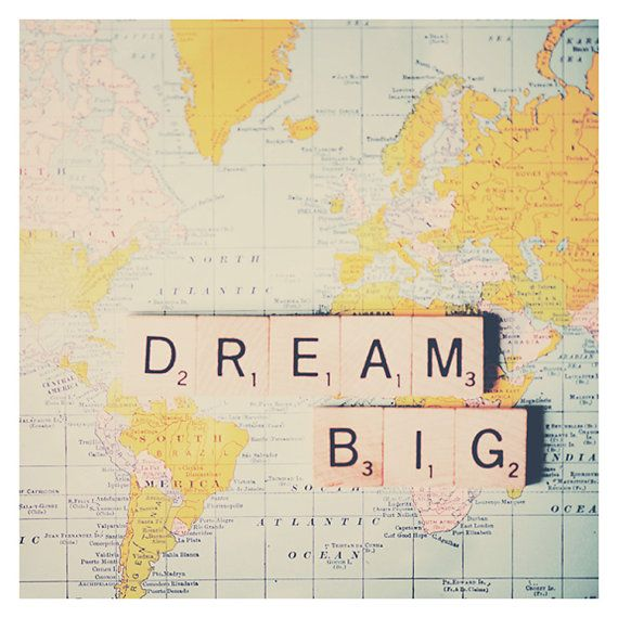 dream big map color photo print - whimsical fine art still life photography, retro, inspirational, nursery wall art