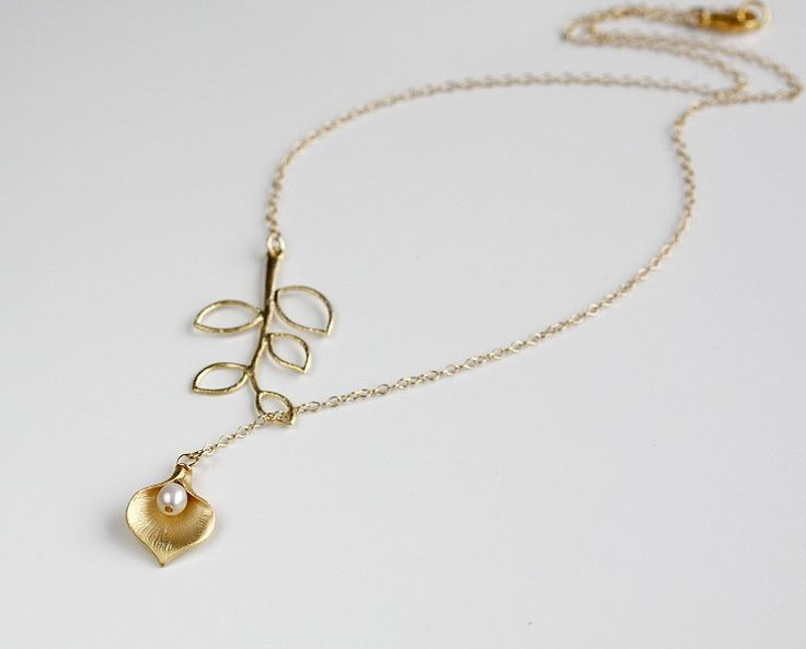 Calla lily necklace gold branch lariat 14k gold filled chain bride