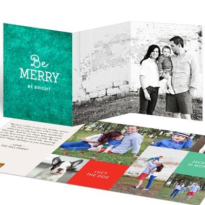 A unique, rubbed-color background in your choice of three colors, and your choice of three holiday messages are just a few of the many personalization options on these trifold Christmas cards.