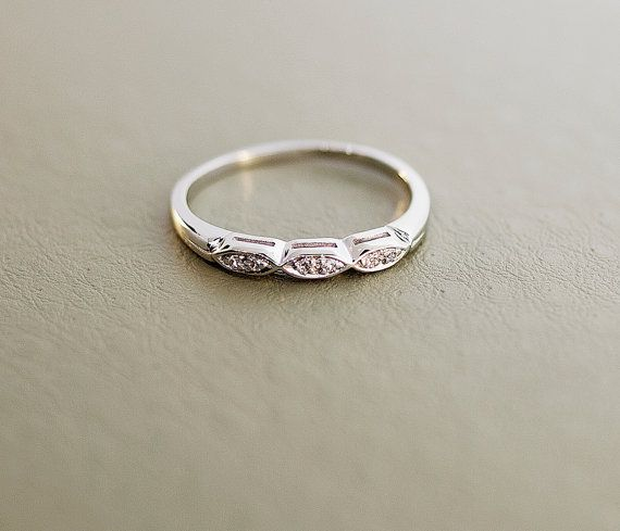 Vintage 14k White Gold Diamond Wedding Band By SITFineJewelry