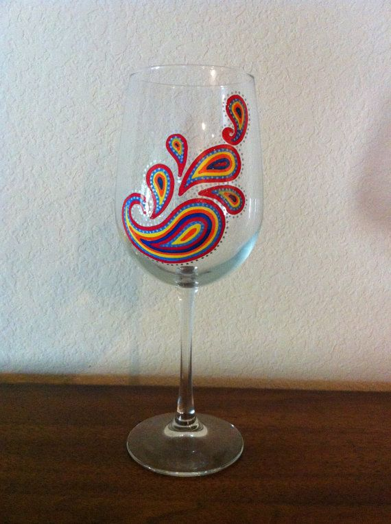 Hand painted paisley wine glass for Hand painted wine glasses