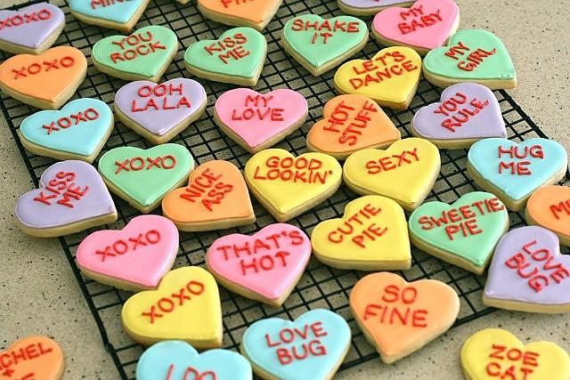 conversation heart cookies | Valentine's Day | Pinterest