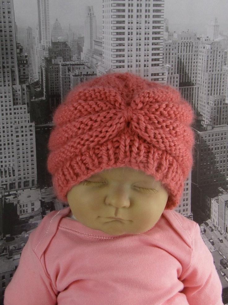 Knitting Pattern Baby Turban : knitting pattern- Baby Chunky Beehive Turban Beanie Hat ...