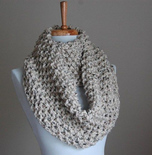 Knitting Pattern For Beanies : Infinity Scarf Neutral Oatmeal Hand Knit Chunky Textured Pattern