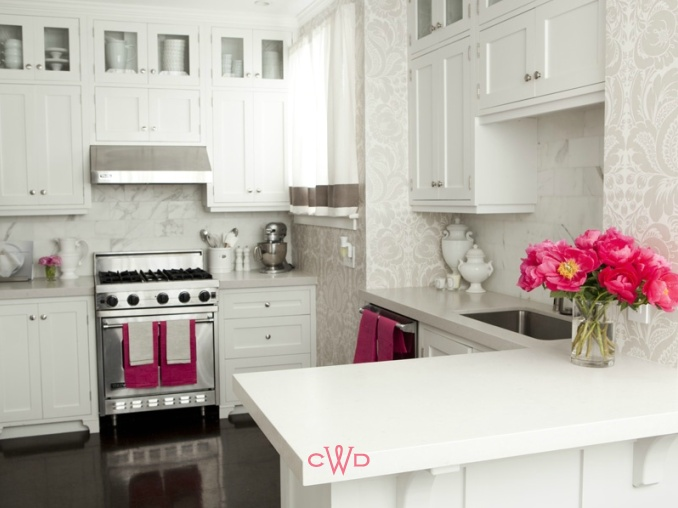 Caitlin Wilson Design Custom With Pink with White Kitchen Cabinets Image