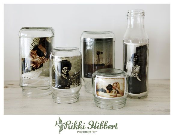turn different sized jars into photo frames