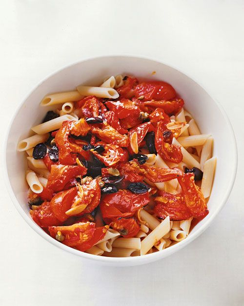 Oven Puttanesca - tomatoes, Garlic, Capers, Olives & Penne