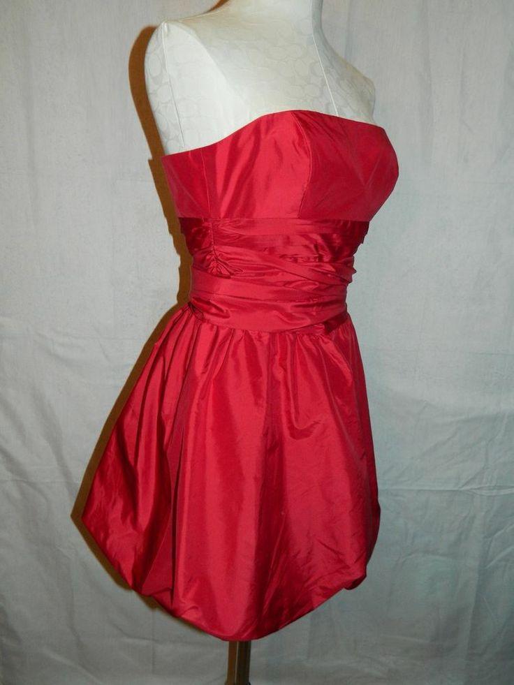 Bcbg Red Strapless Cocktail Dress 14