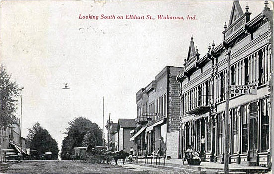 Looking south on Elkhart Street, Wakarusa, Indiana postcard