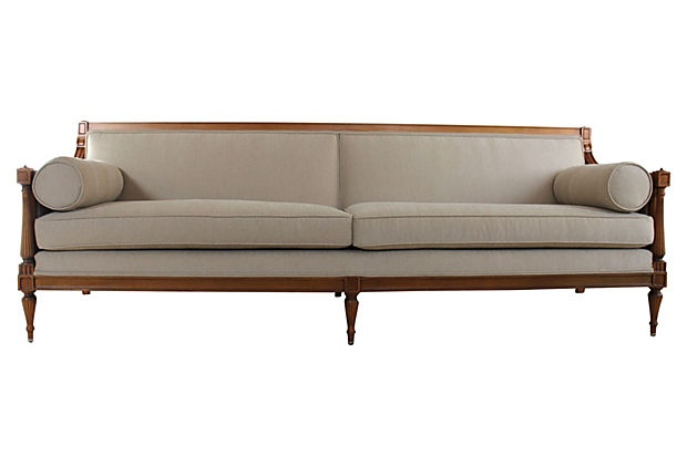 1940s Sofa W 2 Bolster Pillows