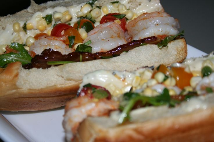 Grilled Shrimp Po' Boy with Maple-Glazed Bacon, Corn Salsa and Maple ...