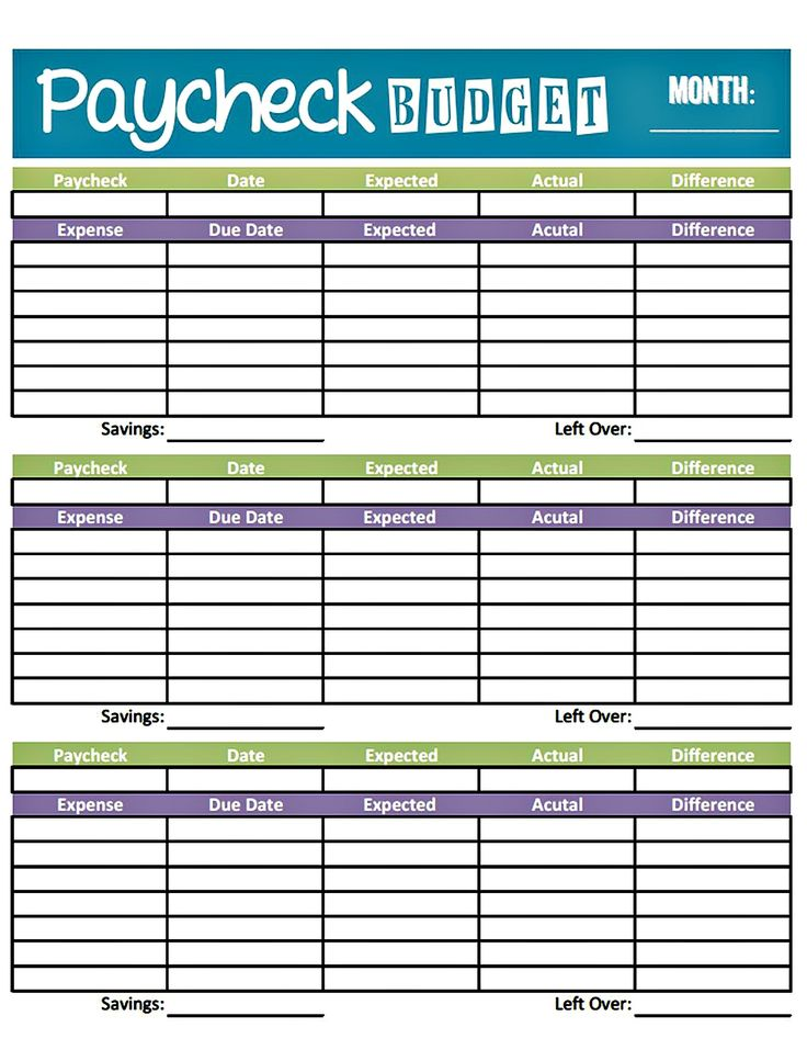 Free printable budget sheets family