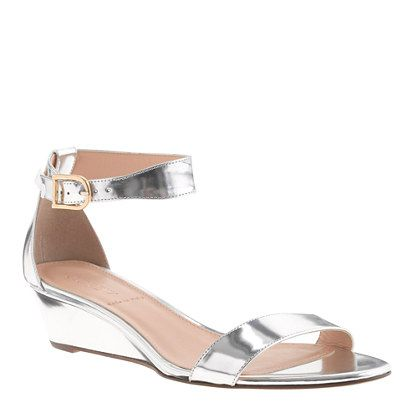 Lillian mirror metallic low wedges from J.Crew (http://www.jcrew.com/womens_category/shoes/sandals/PRDOVR~19237/19237.jsp)