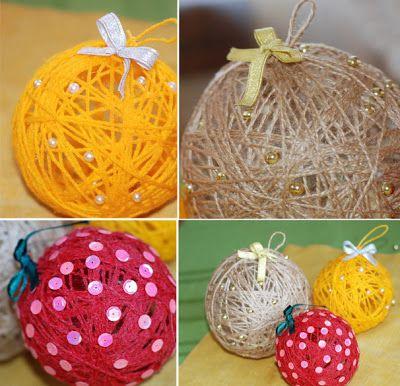 Bolas de natal feitas com barbante e bexiga - Pra Gente Miúda