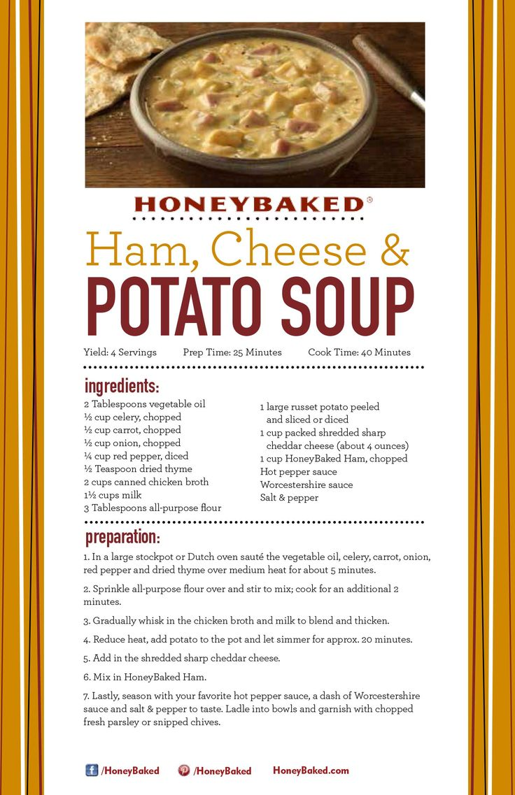HoneyBaked Ham, Cheese & Potato Soup Double recipe, used Essence ...