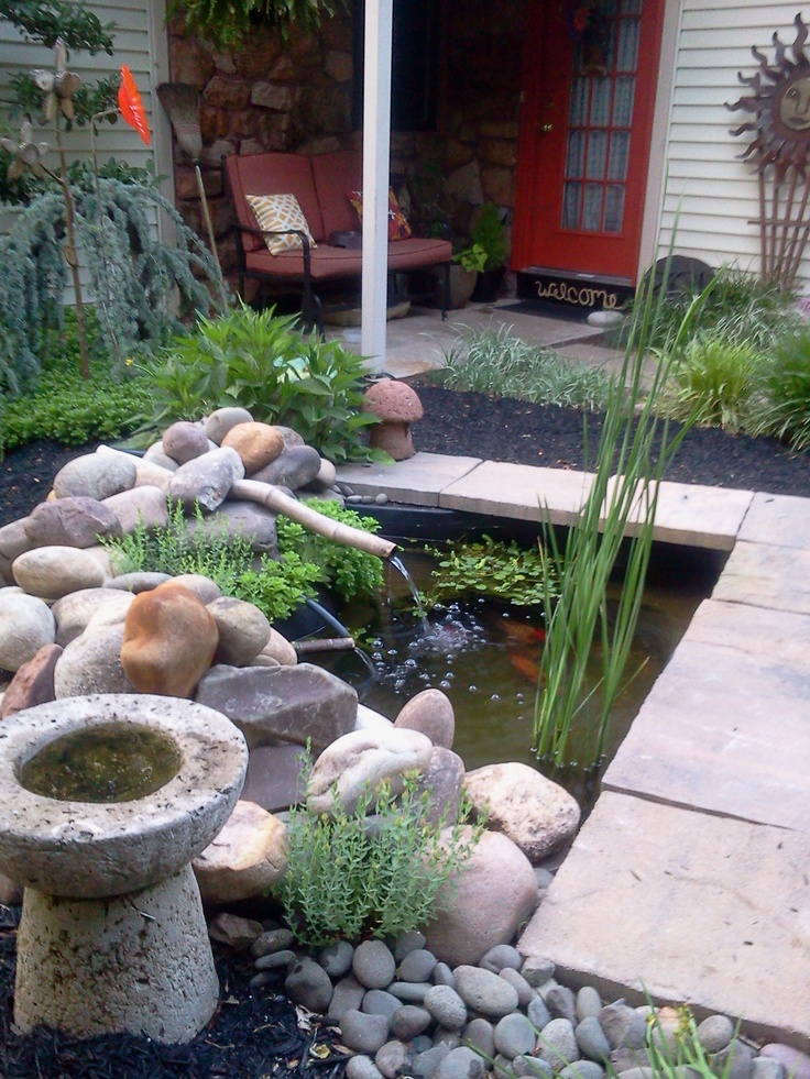Small backyard pond koi ponds pinterest for Small coy pond