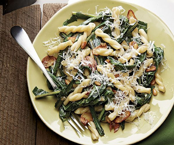 Pasta with Dandelion Greens, Garlic, and Pine Nuts