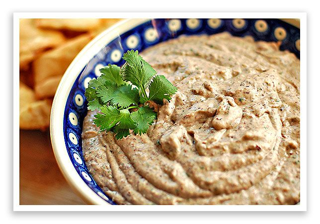 Black Bean Hummus. Black beans, tahini, cilantro, onion, garlic, olive ...
