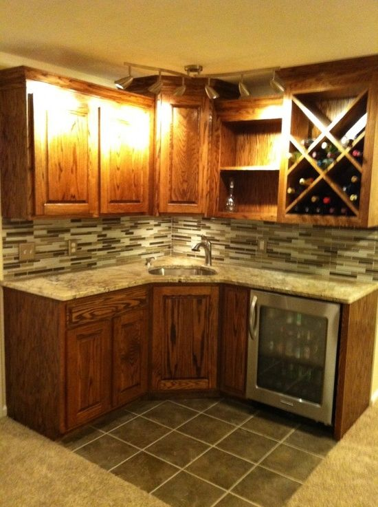Pin by darrell kentner on walk up basement wine bar pinterest - Corner wet bar designs ...