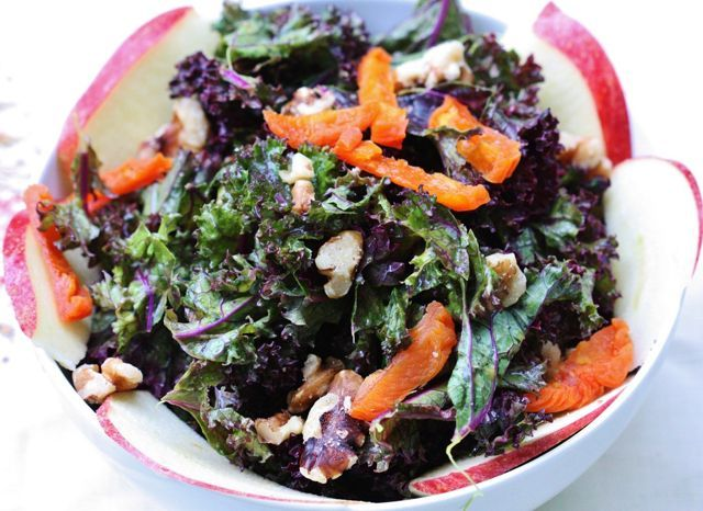 Purple Kale Salad with Creamy Apricot Ginger Dressing, Apples, and ...