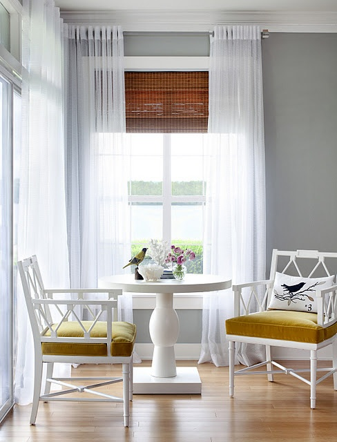 Love the chairs, love the gray walls