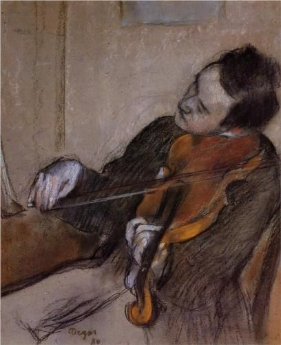 Edgar Degas (French, Post-Impressionism, 1834–1917): The Violist (L'Altiste), 1880. Sketch and Study. Pastel, 60 x 51 cm. Private Collection. (London, Sotheby's. Lot 11, 4/4/89)