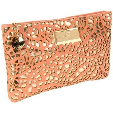 coral / gold clutch by reva