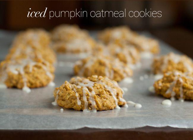 Iced Pumpkin Oatmeal Cookies | Recipe