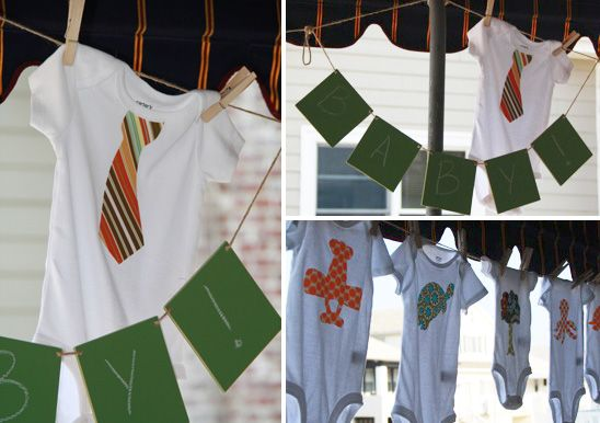 iron on onsies activity for baby shower   |  On to Baby blog