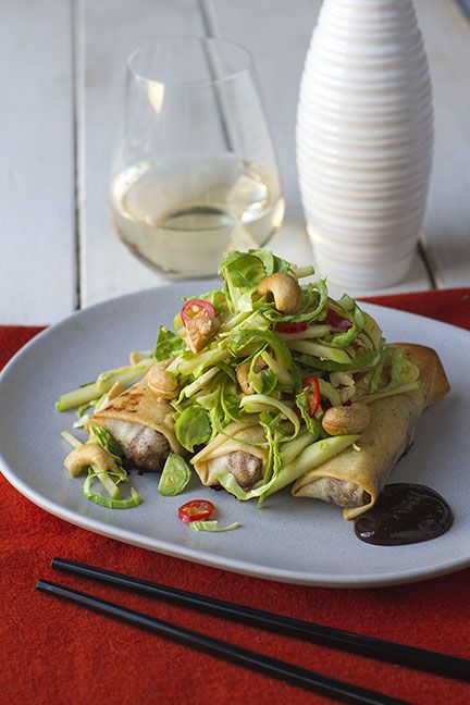 Crispy Hoisin Chicken Rolls, Brussel Sprout, Apple and Cashew Slaw