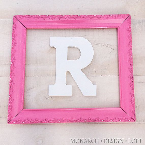 11x14 large pink frame ornate shabby chic nursery decor for Large wall letters for nursery