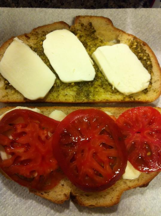 My caprese panini! Fresh mozzarella, basil pesto, heirloom tomatoes ...