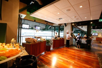 The Gehl Club accomodates groups of 25-240. Located along the left-field line, this spacious, 9,000 square foot area is perfect for taking in the game with your guests, relaxing by one of two bars, or lounging in front of large screen TVs in the sitting areas. Tickets include a full buffet featuring a premium menu that changes daily and is available from the time Miller Park gates open till the end of the 5th inning.