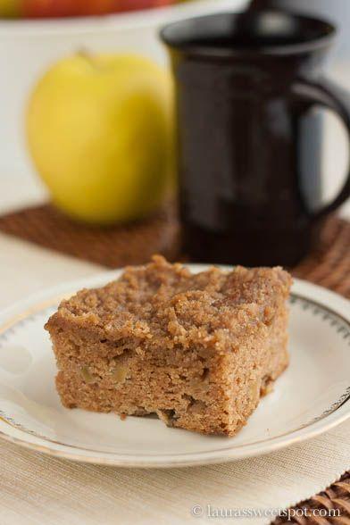 apple coffee cake. Ingredients: butter, light brown sugar, eggs, flour ...