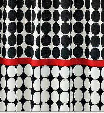 GRAPHITE Dot Shower Curtain BLACK White Red SALE KOHLs