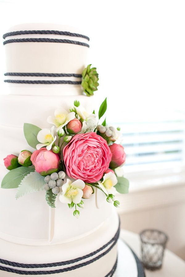 Dear cake, you are too pretty to eat!  the colors! navy, white, pink, green, blues