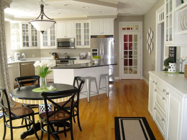 white and taupe kitchen 2017 - Grasscloth Wallpaper