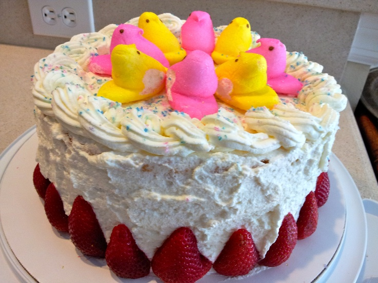 Easter Chiffon Cake with Strawberry and Cream