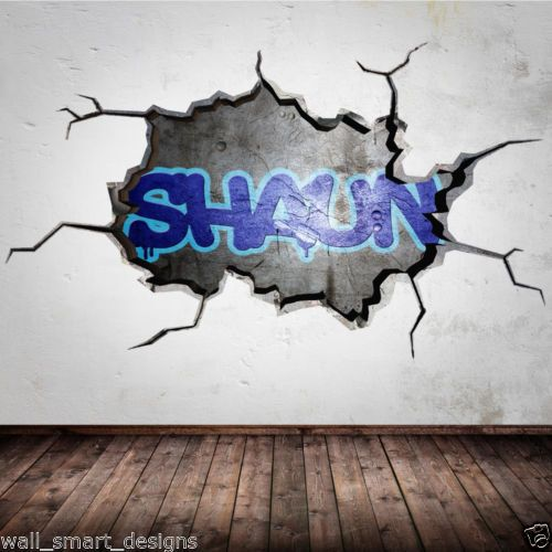 personalised graffiti name cracked 3d wall by