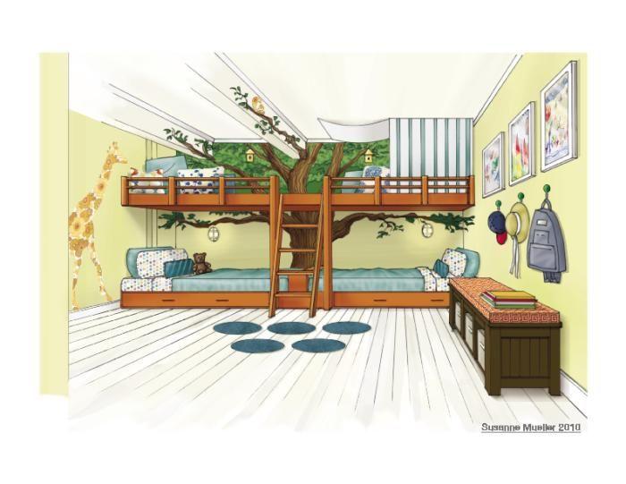 Boys tree house bedroom baby children pinterest for Treehouse kids room