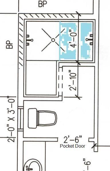 floor plan example of a doorless shower for the home