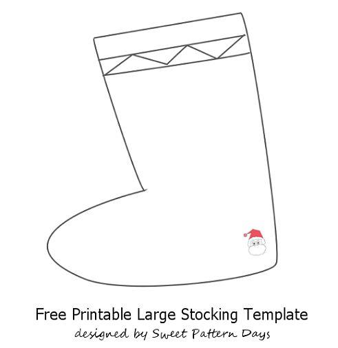 Large Stocking Template | Christmas Printables | Pinterest