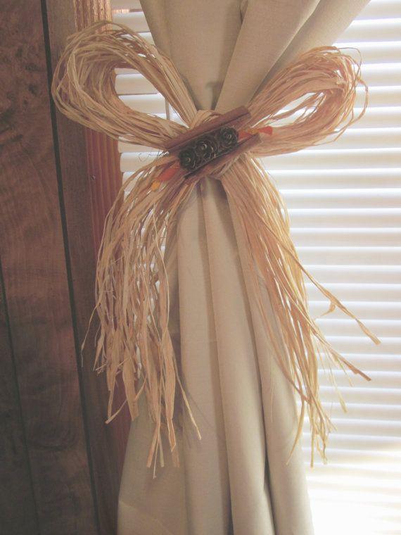 Natural Raffia Bow Curtain Tie Back with Mini #Pinecones & #Cinnamon ...