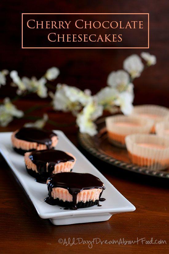 Mini Cherry Chocolate Cheesecakes #lowcarb #glutenfree #grainfree